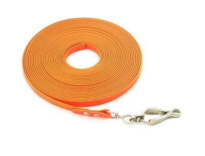 Bracco Biothane stopovací šňůra 12 mm, oranž- klešťová karabina, různé délky